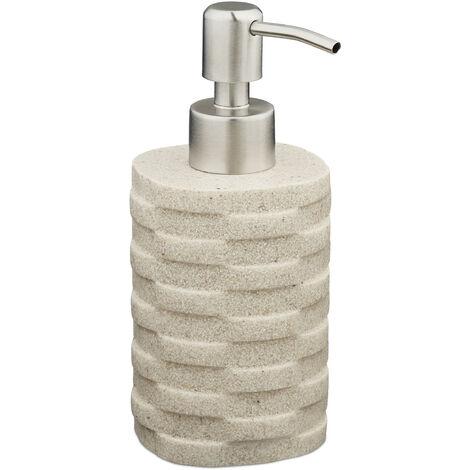 Porte-savon liquide, 200 ml, rechargeable, salle de bain, distributeur shampoing, pompe en inox, beige