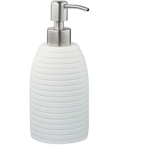 Porte-savon liquide, 300 ml, rechargeable, salle de bain, cuisine, distributeur shampoing, pompe inox, blanc