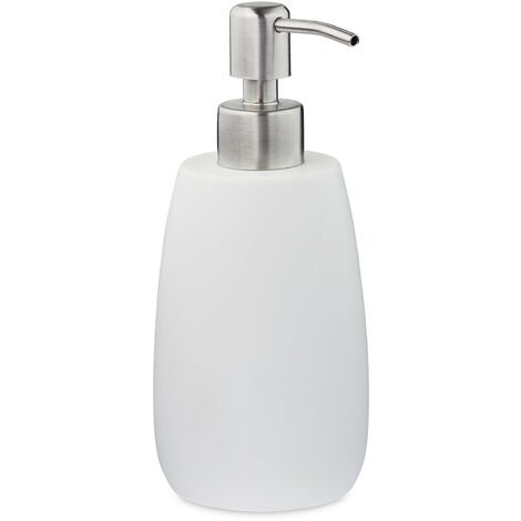 Porte-savon liquide, 300 ml, rechargeable, salle de bain, distributeur shampoing, pompe en inox, rond, blanc