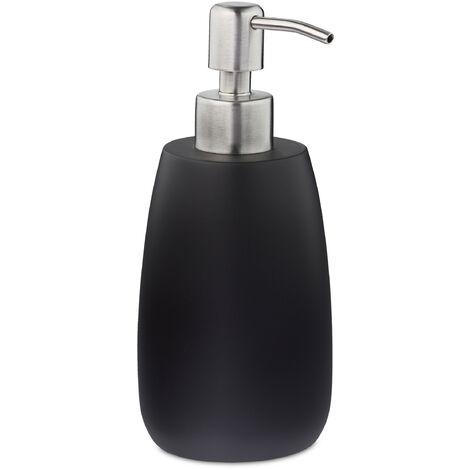 Porte-savon liquide, 300 ml, rechargeable, salle de bain, distributeur shampoing, pompe en inox, rond, noir