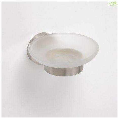 Porte-savon NEO en verre et en acier 12,5x5,5x11cm