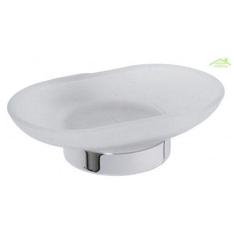 Porte-savon OVAL en verre et en chrome 12,5x13x5 cm