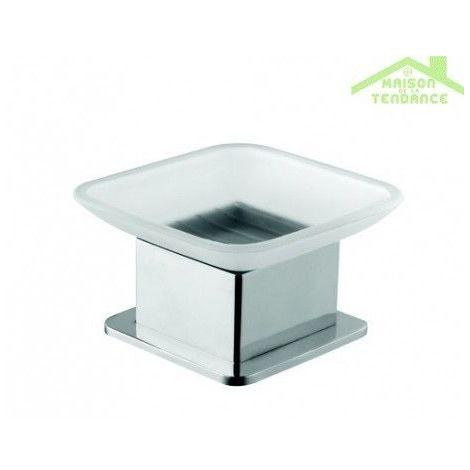 Porte-savon PLAZA en verre et en chrome 8x8x6 cm