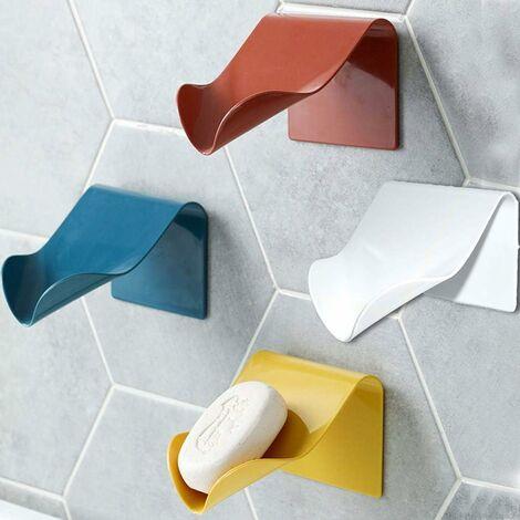 Porte-Savon pour Cuisine Salle de Bains Douche, Boîte à Savon Range-Savon Support de Savon Auto-drainant Plastique Mural (Jaune*1)