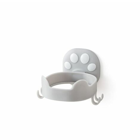 Porte-sèche-cheveux haut de gamme sans couture sans trou Tenture murale Toilette Salle de bain Rangement de toilette Chat Griffe Sèche-cheveux Gris