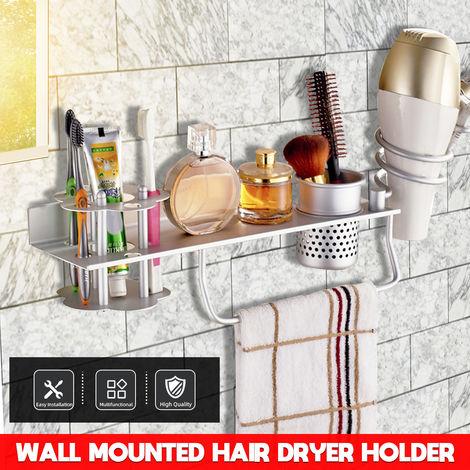 Porte Sèche-Cheveux Montage Support étagère de Rangement Mural Aluminum Salle de bain