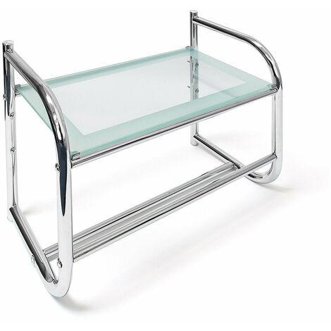 Porte sèche serviette salle de bain universelle acier et verre 45 cm - Jaune