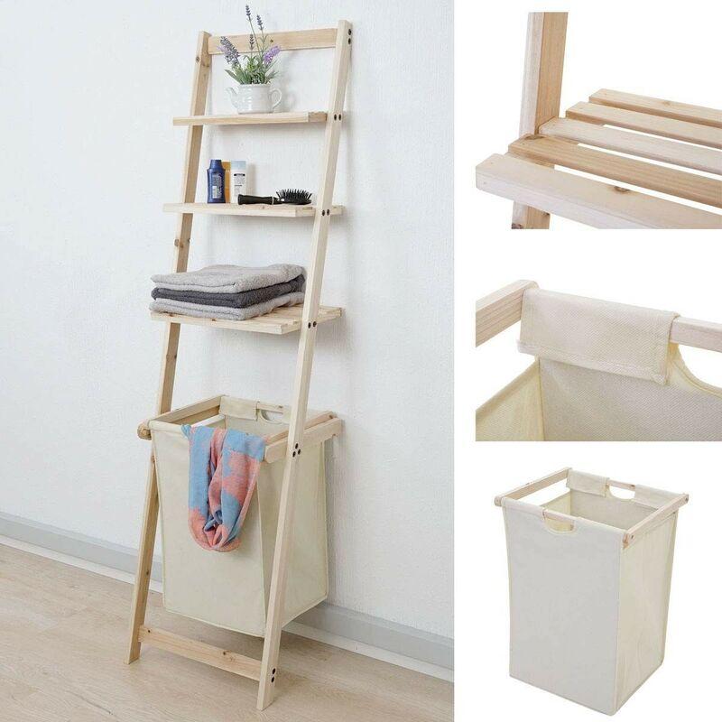 echelle porte serviette bois Porte serviette étagère échelle avec paner à linge en bois 152x41x35cm -  SDB04034