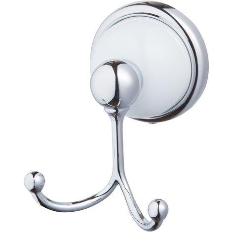Porte serviette patère double crochet serie GRENADA à fixer ou à coller 75 x 68 x 90 mm / Couleur: Chrome et blanc / Référence: *06911