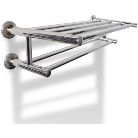 Porte serviette salle de bain universelle double acier 60 cm - Jaune
