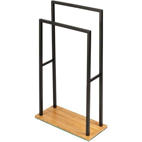 Porte Serviette sur pied acier noir et base bois lestée en bambou, 2 portants, 46x20x80 cm