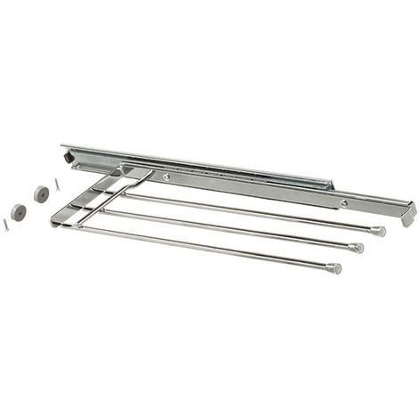 Porte-serviettes - 3 barres - Profondeur : 456 mm - Décor : Chromé - Hauteur : 37 mm - Nombre de bras : 3 - Matériau : Acier - Largeur : 146 mm - VIBO - Nombre de bras : 3