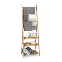 Porte-serviettes bambou pliable 3 tablettes de rangement valet vêtements 3 barres 4 crochets HxlxP: 152 x 53 x 31 cm, nature