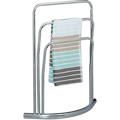 Porte-serviettes CURVY support serviettes sur pied HxlxP: 85 x 66 x 20 cm gant de toilette main 3 barres bras en métal optique inox serviteur valet de chambre vêtements, argenté