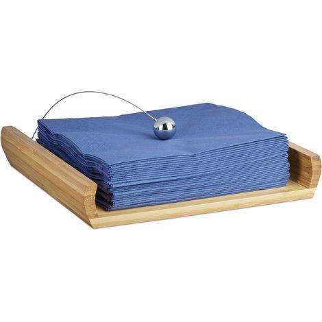 Porte-serviettes de table en bambou avec boule support HxlxP: 3,7 x 21,7 x 21,7 cm, nature