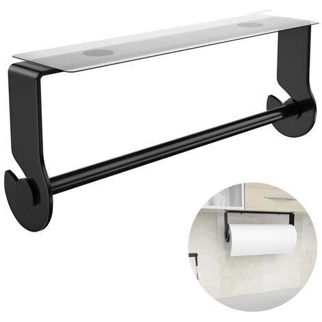 Porte-serviettes en papier adhésif sous le meuble, porte-serviettes en papier noir pour cuisine, salle de bain, pas de perçage, acier inoxydable, antirouille, noir