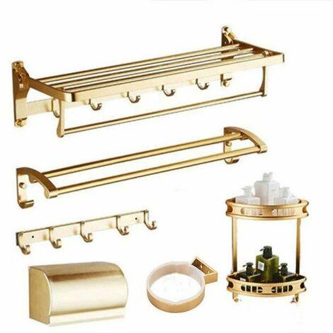 Porte-serviettes étagère de salle de bain WC salle de bain porte-serviettes WC support de rangement pliable espace de salle de bain en aluminium