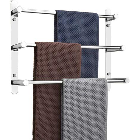 Porte-serviettes murale Multilayer 304 en acier inoxydable - 60 cm - Fixation murale - 3 barres - Pour salle de bain et cuisine