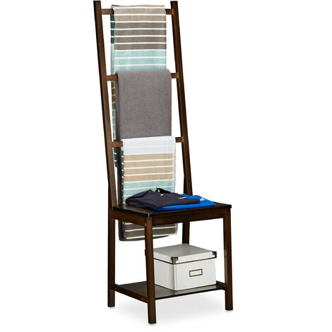 Porte-serviettes Portant Range-Serviettes Bain Valet Chambre Chaise Dressing Bambou 133x40x42cm, Marron Foncé