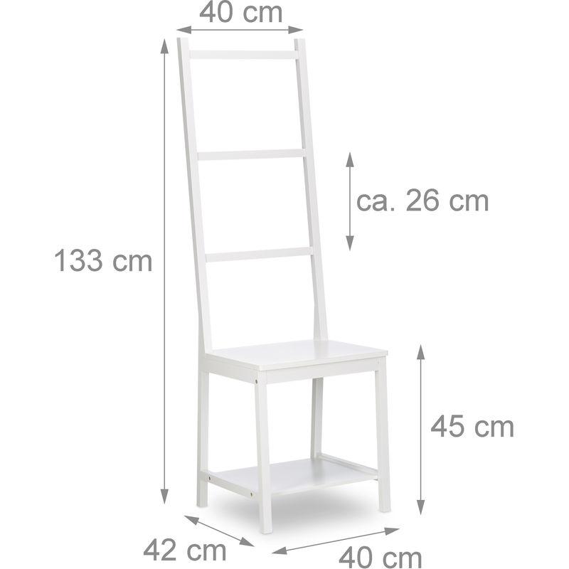 Porte-serviettes Portant Range-Serviettes Bain Valet de Chambre Chaise de  Lit SDB Bambou 133x40x42cm, Blanc