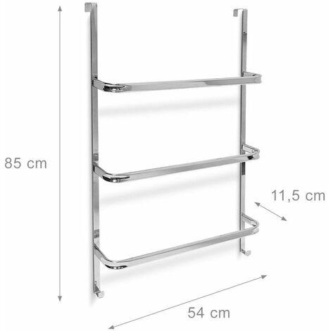 Porte-serviettes Porte-torchons salle de bain cuisine 3 étages argenté 85 cm - Argent