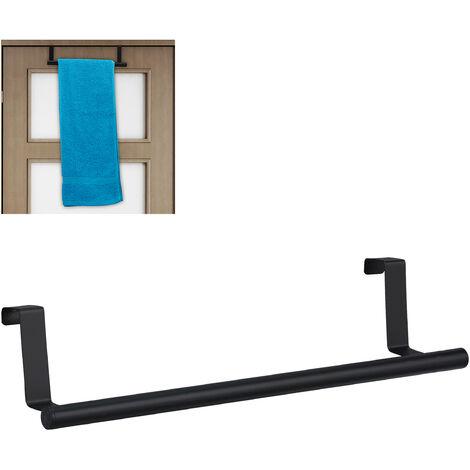 Porte-serviettes pour porte et armoire, accrocher, tringle en acier inoxydable, tige sans trous, cuisine,noir