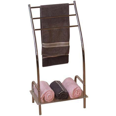 Porte-serviettes rangement salle de bain étagère en acier chromé - or