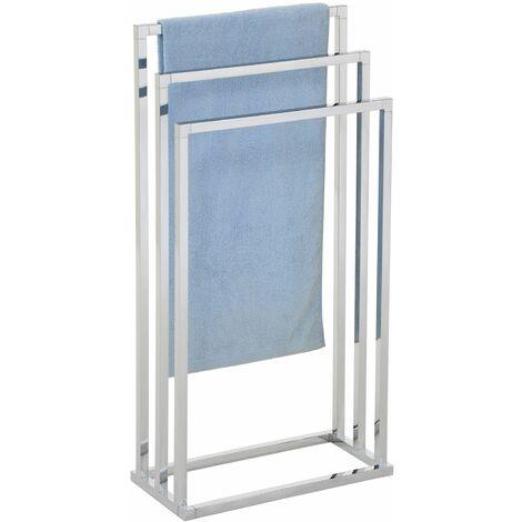 Porte-serviettes sur pied KUNO portant pour vêtements et linge de salle de bain avec 3 niveaux d'étendage, structure en métal chromé