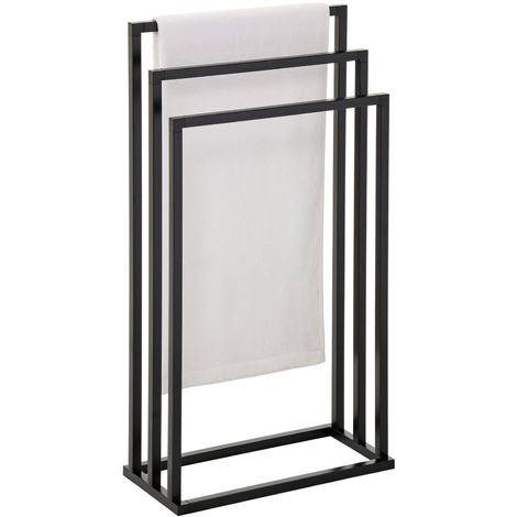 Porte-serviettes sur pied KUNO portant pour vêtements et linge de salle de bain avec 3 niveaux d'étendage, structure en métal noir