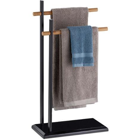Porte-serviettes sur pied, Support pour serviettes de bain 2 barres, bambou, métal, 85,5x45x22,5 cm, noir