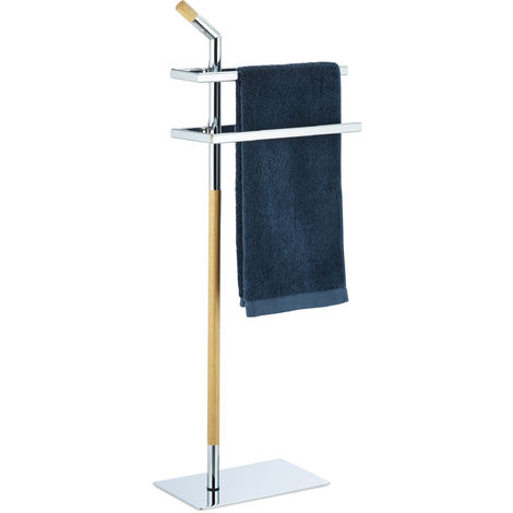 Porte-serviettes sur pied, Support pour serviettes de bain 2 barres chrome bois, 103x38x21 cm, chrome/nature
