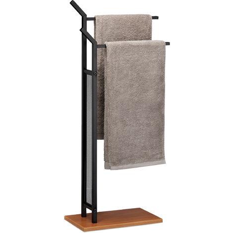 """main image of """"Porte-serviettes sur pied, Support pour serviettes de bain 2 barres fer aspect bois, 88 x 40 x 20 cm, noir"""""""