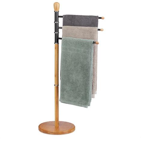 Porte-serviettes sur pied, Support serviettes de bain, 3 barres, bambou, métal, HxlxP: 94 x 48x 48 cm, nature