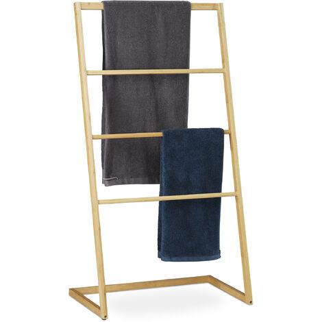 Porte-serviettes sur pieds, échelle escalier 4 barreaux, serviette bain douche, HxlxP 110 x 60 x 35 cm, nature