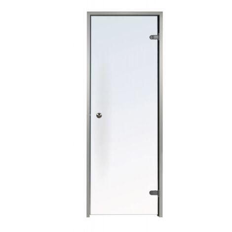 Porte transparente pour Hammam 60 x 190 cm en verre trempé sécurite 8mm cadre en aluminium