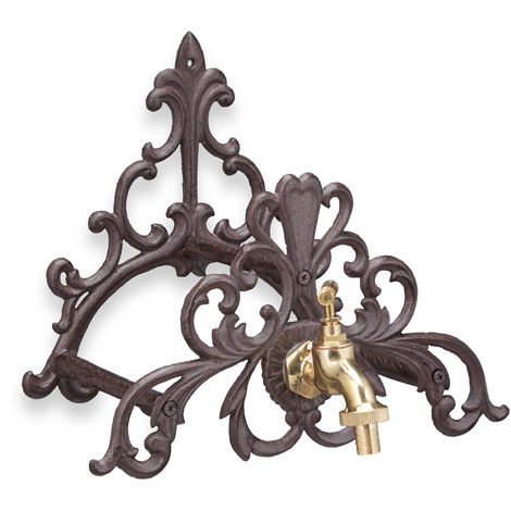 Porte tuyau d'arrosage, support jardin, en fer forgé, robinet, fixation murale, design d'antan, marron foncé