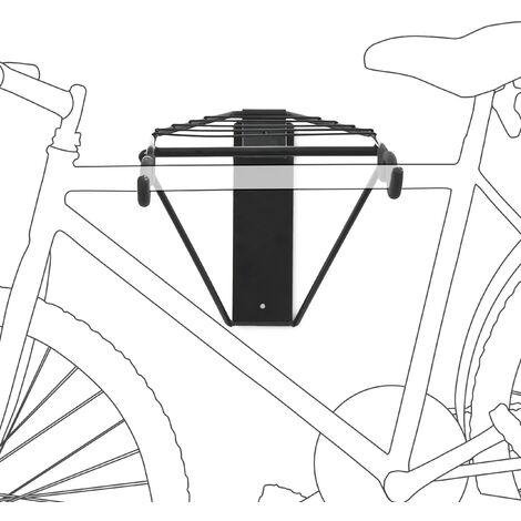 Porte-vélo mural pliable crochet Charge à 50 Kg Range-vélo garage cave 2 vélos, noir