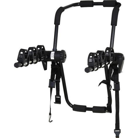 Porte-vélo pour 3 vélos - installation sur hayon - sangles de sécurité - pliable à plat - métal époxy noir