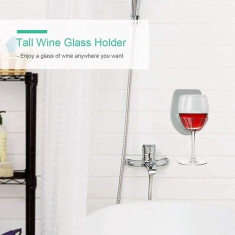 Porte-verre à vin Douche et bain Ventouse Cadeaux de vin Détente (Gris)