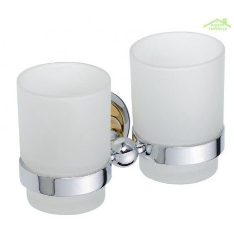 Porte-verre double RETRO en laiton + 2 verres 16x10,5x9 cm