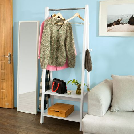 Porte-Vêtement en Bois Penderie à Vêtement Porte-Manteau avec Deux Étagères –Blanc FRG59-W SoBuy®