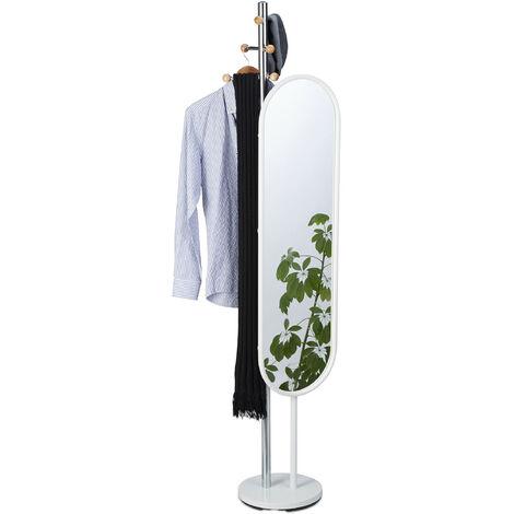Portemanteau avec grand miroir pivotant, Porte-vêtements chambre dressing entrée, 175 cm de haut, acier blanc