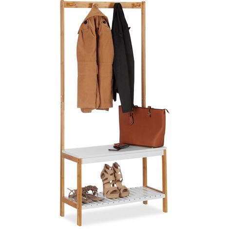 Portemanteau banc à chaussures, 4 crochets vestes, Meuble entrée, bambou et MDF, 150x70,5x30 cm, nature-blanc