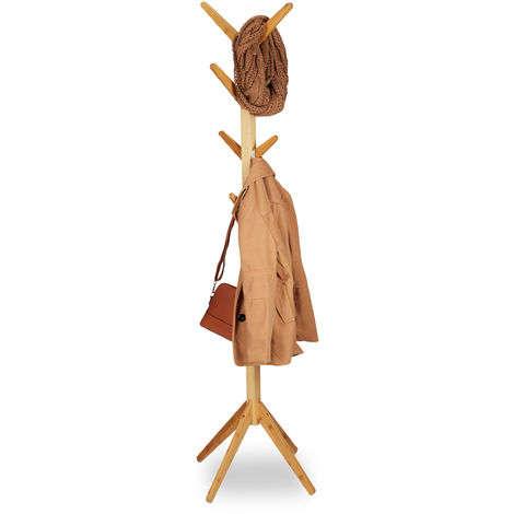 Portemanteau en bambou moderne, 8 crochets, Porte-vestes design en bois, HxlxP : 179 x 40,5 x 40,5 cm, nature