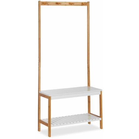 Portemanteau étagère avec banc à chaussures 150 cm bois naturel et blanc - Blanc