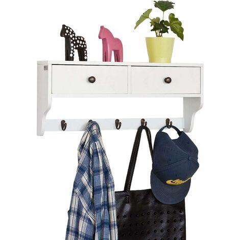 Portemanteau Étagère murale Porte-manteau salle de bain Meuble d'entrée avec 2 tiroirs et 5 crochets - Blanc SoBuy® FRG178-W
