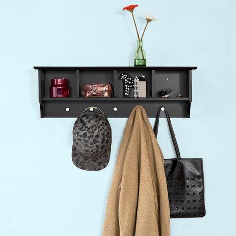 Portemanteau Étagère murale Porte-manteau salle de bain Meuble d'entrée avec 4 compartiments de rangement et 5 crochets - Noir FRG48-L-SCH SoBuy®