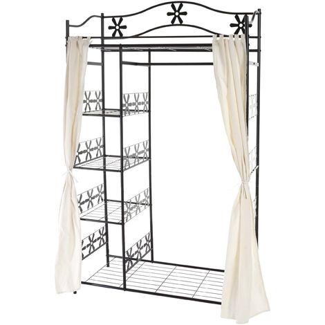 Portemanteau Genf, garde-robe, portant, portemanteau, armoire, étagère métallique 172x100x43cm ~ avec rideau