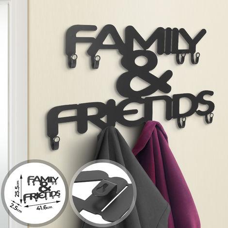 Portemanteau Mural Patère avec 9 Crochets Design ''Family & Friends'' Noir Mat Porte-manteau Patère pour Entrée Couloir Chambre