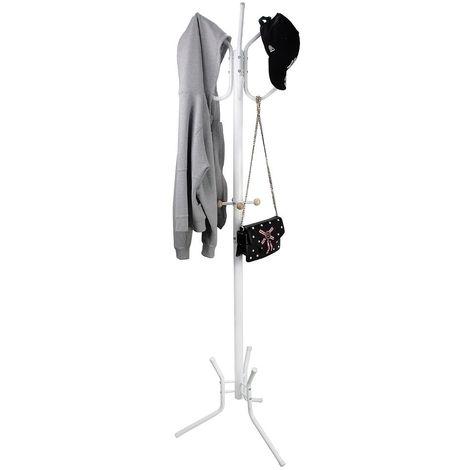 Portemanteau, Portant pour Manteaux et Chapeaux, Blanc, Dimensions: 50,0 x 50,0 x 177,8 cm